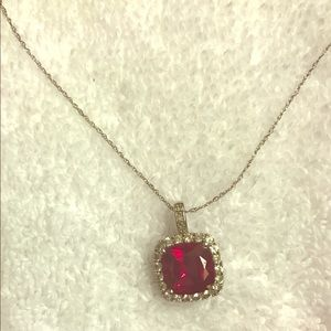 Zales ruby and white sapphire necklace